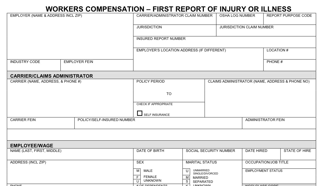 report claim workers compensation claims forms